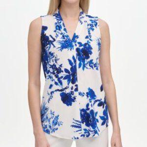 Tops - MSRP $60 Calvin Klein Floral-Print V-Neck Top Size
